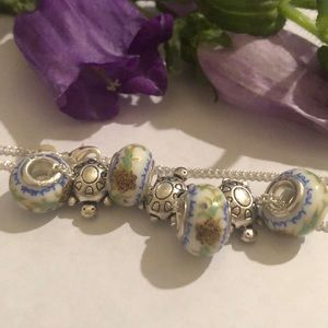 """18"""" silver necklace glass beads  & turtles"""